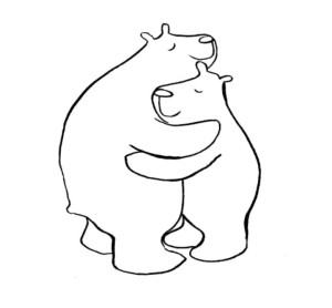 Bears hugging