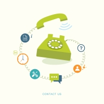Contact us flat illustration with icons
